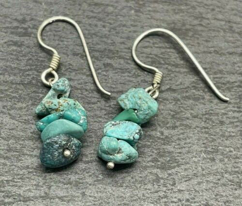 Vintage 925 Sterling Silver Drop Dangle Stacked Natural Turquoise Southwestern