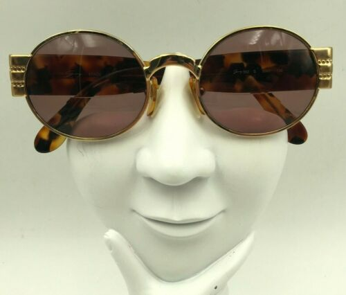 Vintage Genny 562-S 5001 Brown Gold Metal Oval Sunglasses Italy FRAMES ONLY