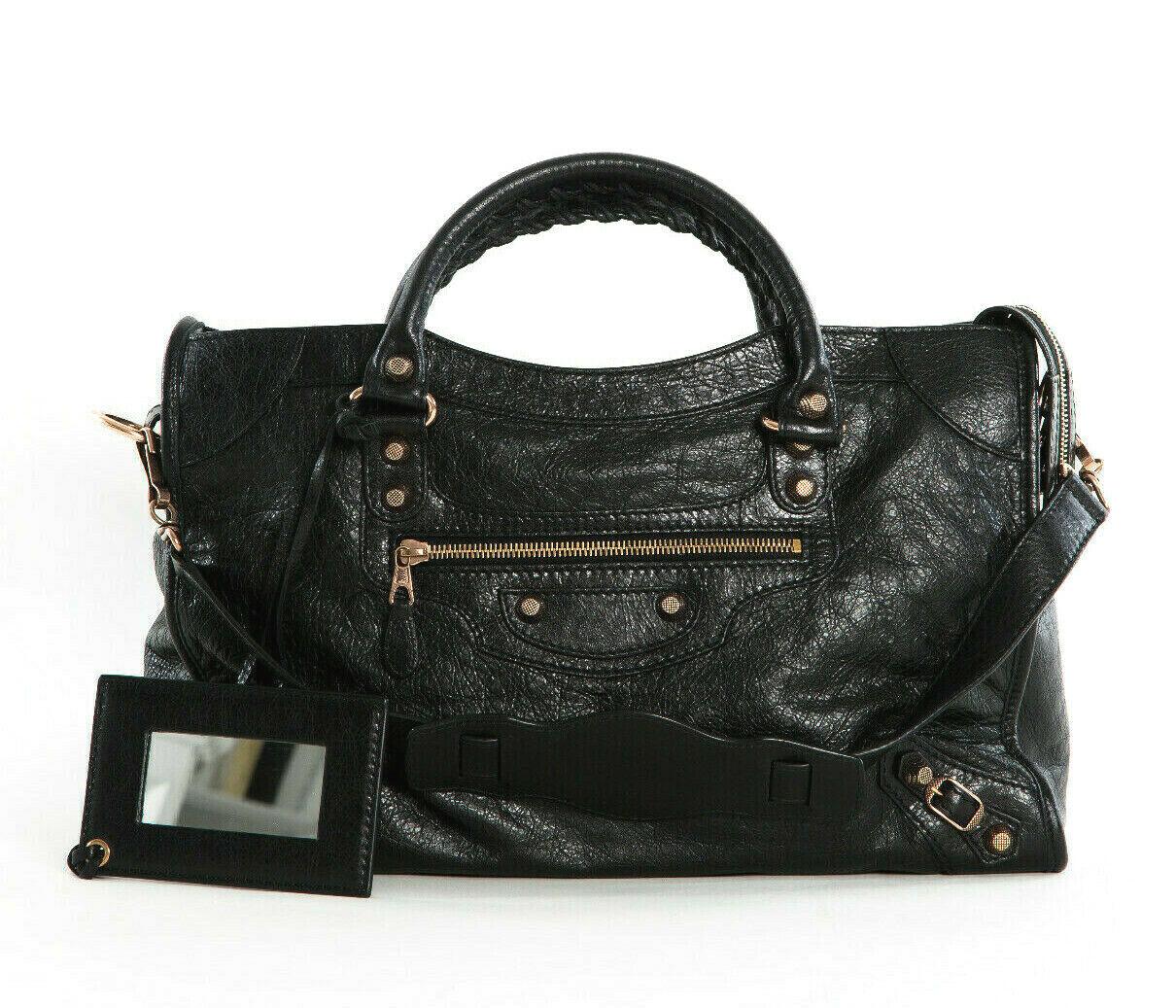 New Balenciaga Giant 12 Black Gold Hardware Agneau Lambskin City Bag 281770