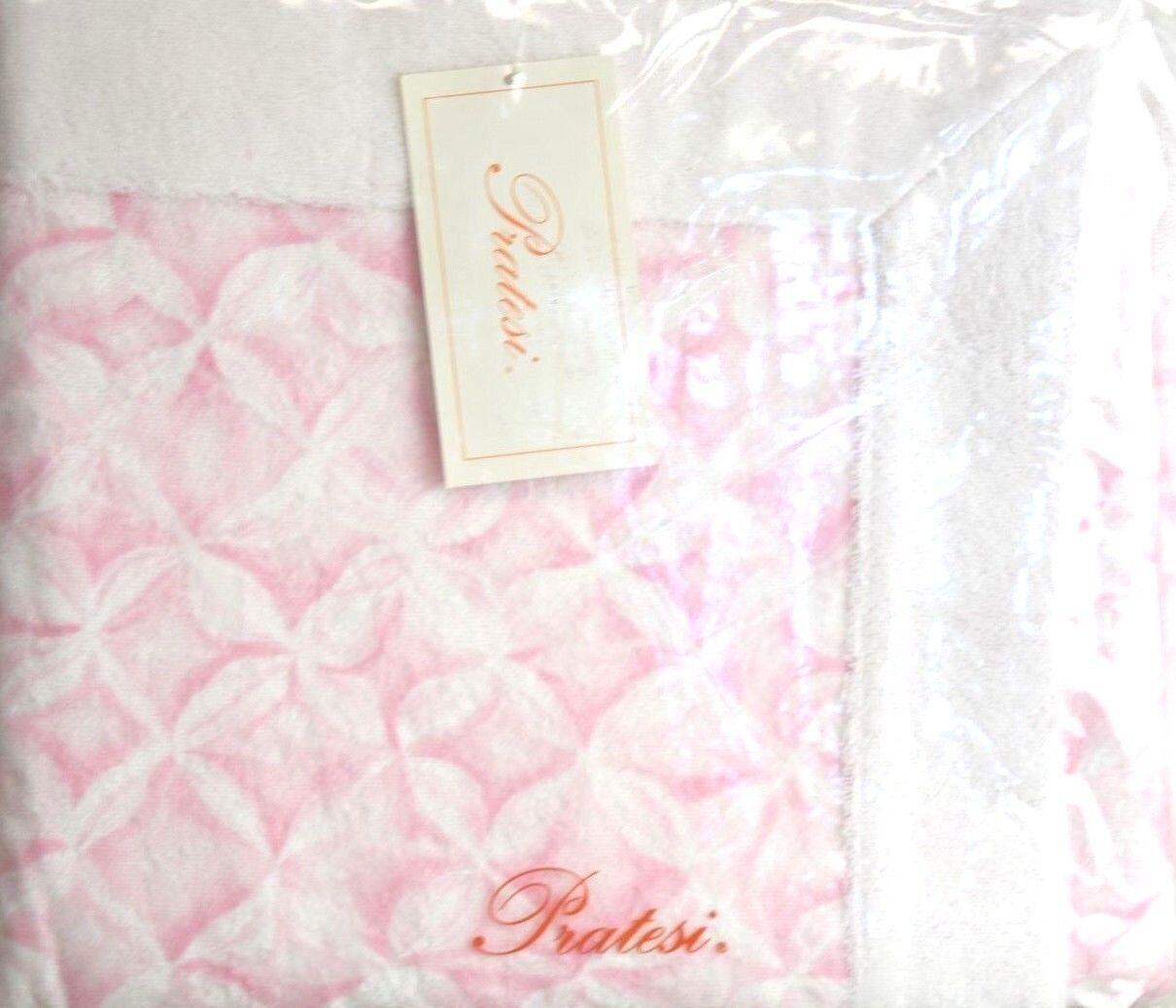 NEW PRATESI Ice Home White Pink BATH SHEET TOWEL BATH MAT 23