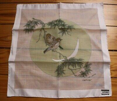 NWT Lehner Bird Moon Branch Hand Rolled Handkerchief 12 x 12 (Branches Handkerchief)