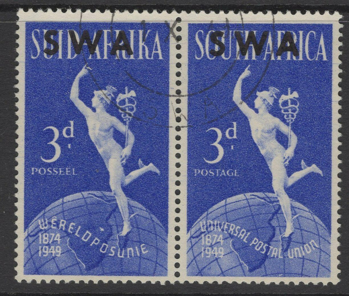 """SOUTH WEST AFRICA SG140b 1949 3d UPU SHOWING """"LAKE"""" IN EAST AFRICA FINE USED"""