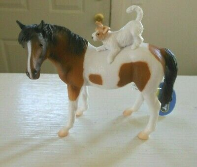 Breyer HORSE CollectA #88891 CHESTNUT PINTO MARE AND DOG PLASTIC 1:20 SCALE 2019