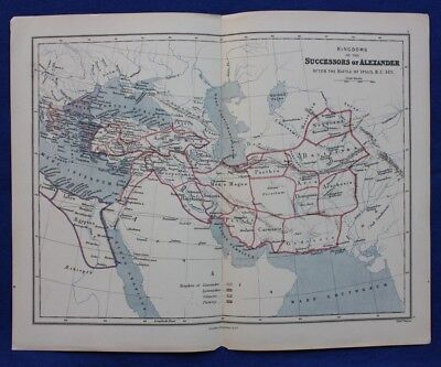 Original antique map KINGDOMS OF THE SUCCESSORS OF ALEXANDER, ASIA, Weller, 1877