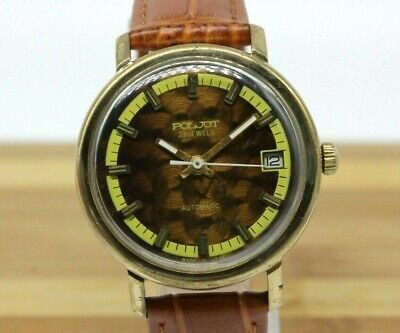 Collectible USSR Watch POLJOT Scales Automatic Serviced Mens Gold Plate WT07
