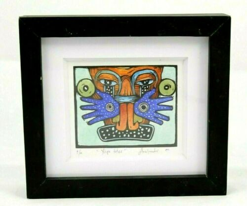 "Woodcut Xylographic Mexican Fine Art Master Artist Collectible ""Xipe Totec"""