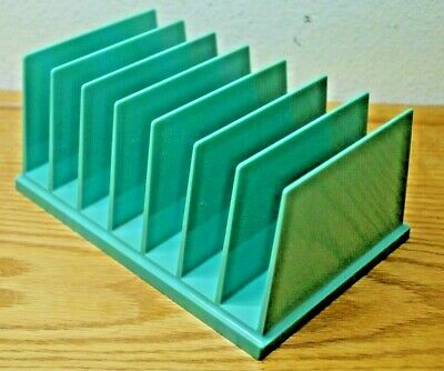 Vintage Mid-century Desk Letter Organizer Tray File Drawer Turquoise Retro