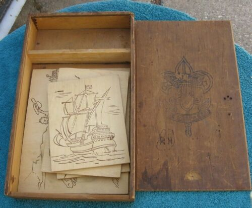 Vintage Boy Scouts of America Wood Storage Box and 4 Wooden Draw Color Pictures