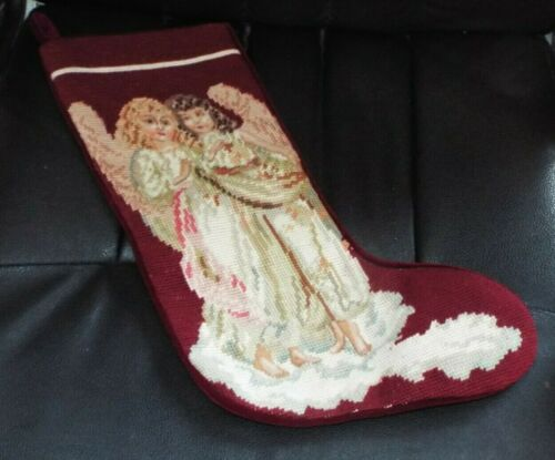 """VINTAGE VICTORIAN ANGELS CHRISTMAS NEEDLEPOINT STOCKING 17"""", IMPERIAL ELEGANCE"""