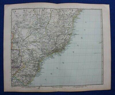 Original antique map SOUTH AMERICA, BRAZIL, Stieler, 1891