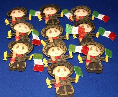 3D MEXICAN INDIA MARIACHI PARTY SUPPLY DECORATION FOAM FIGURES 10 PACK GLITTER  - Foam Figures