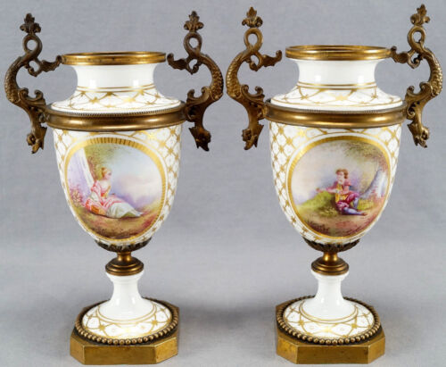 Late 19th Century Sevres Style Hand Painted & Gilt Ormolu Dolphin Handle Urns