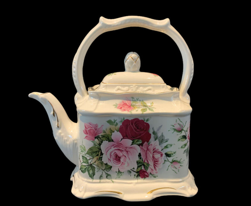 Vintage Crown Dorset Staffordshire England Pink Roses Carriage Style Tea Pot