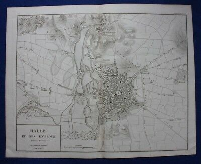 Original antique map / city plan GERMANY, HALLE, Napoleonic War, Tardieu, c.1824
