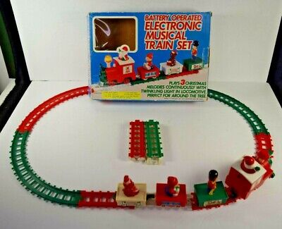 Train Set Electronic Musical Battery Operated Christmas Santa Express 1987 Tony