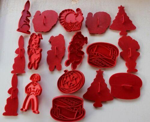 17 Vintage Red Tupperware Plastic Cookie Cutters..