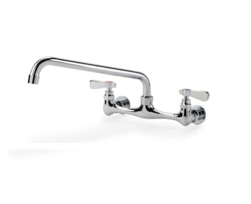 """Commercial Stainless Steel Wall Mount Faucet with 8"""" Center and 12"""" Spout"""
