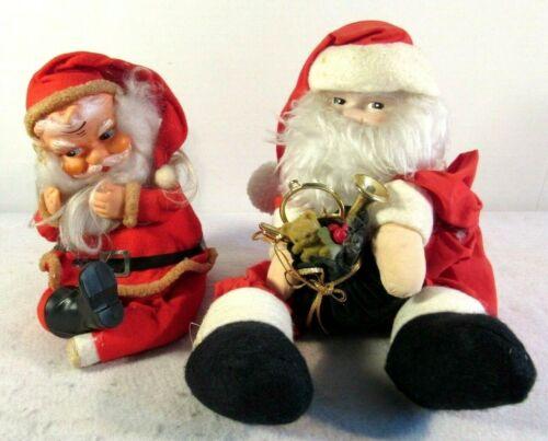 Vtg Plush Musical Wind Up Santa Christmas Lot 2 Japan Taiwan Jingle Bells FLAWS