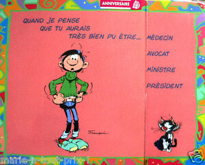 humour rare grande carte postale d 39 anniversaire de gaston lagaffe enveloppe ebay. Black Bedroom Furniture Sets. Home Design Ideas