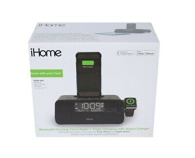 Authentic iHome iPLWBT5B Alarm Clock FM Bluetooth Radio for iPhone and iWatch C