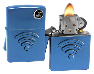 Zippo 29716 WiFi Stamp 3D Design Cerulean Blue Finish Windproof Pocket Lighter