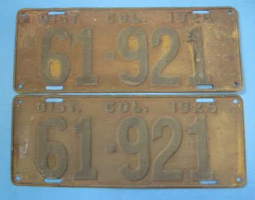 1926 Washington DC license plates matched pair