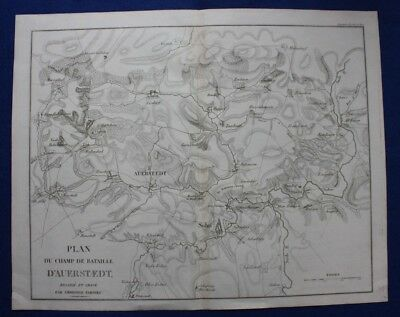 Original antique map GERMANY BATTLE OF AUERSTEDT, Napoleonic Wars, Tardieu c1824