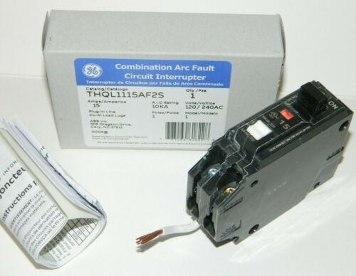 NEW GE THQL1115AF2S 15 AMP Combination Arc Fault Circuit Breaker - Short pigtail