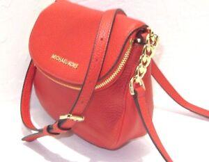 Michael Kors Bedford Sienna Orange Pebbled Leather Flap Crossbody Bag NWT $248