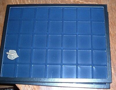 Two Blue Showcases Riker Mount Display Box 12x16 Flocked Divided 35 Glass Top