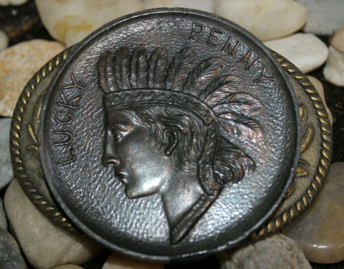 RARE VINTAGE BELT BUCKLE LUCKY PENNY KINNEY CO 1977