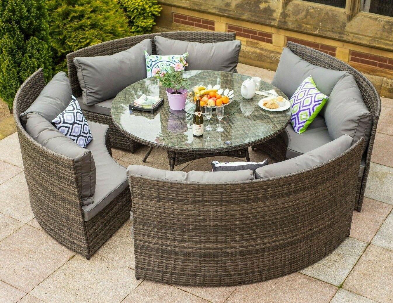 Yakoe Monaco round 6 Seater Patio dining set rattan garden furniture set
