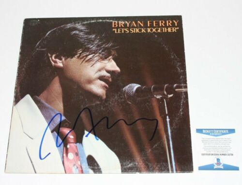 BRYAN FERRY SIGNED LET'S STICK TOGETHER VINYL RECORD ALBUM BAS COA ROXY MUSIC