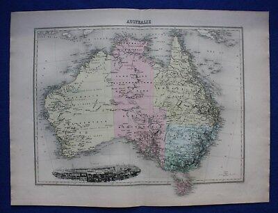 Original antique map AUSTRALIA, TASMANIA, SYDNEY, Migeon, 1891