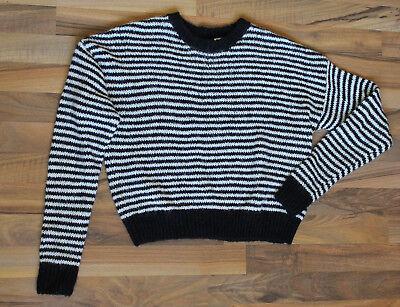 Lange Gestreiften Pullover Schwarz (Strick Pullover in schwarz weiß gestreift von H&M in Größe S langarm rundhals)