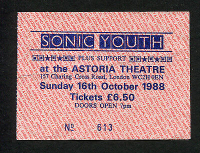 Original 1988 Sonic Youth Concert Ticket Stub Astoria London UK Daydream Nation