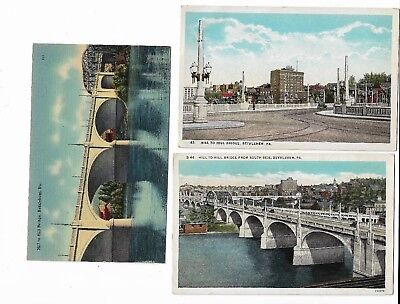 3 Bethlehem PA Vintage Postcards, Different views of Hill To Hill Bridge