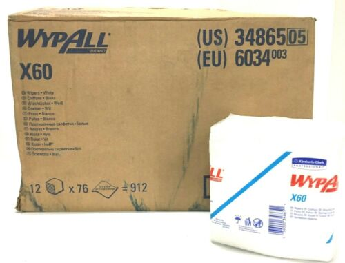 "WypAll X60 Disposable Cloths 12 Pack Case of 912 Wipes 12.5""x 13"" 34865"