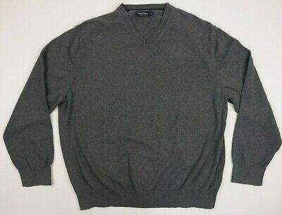 Nautica Mens Sweater Shirt Pullover Gray Long Sleeve V Neck Cotton Size Large