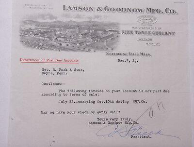 1927 Lamson Goodnow Geo Park Sons Wayne Pa Ephemera L900d