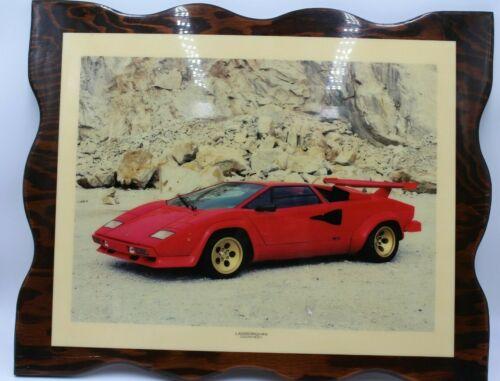 Lamborghini Countach On Wood Picture Poster Photo Car 80