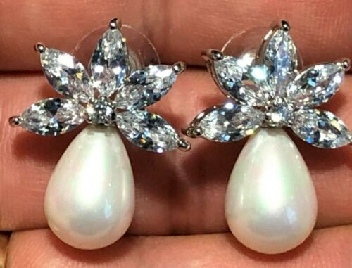 Beautiful Marquise Cut Crystal & Pearl Stud Earring Wedding Bridal