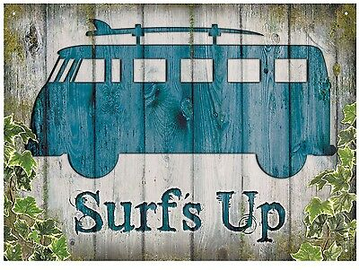 VW Camper van surfs up Chabby chic Look official licensed product Metal Sign