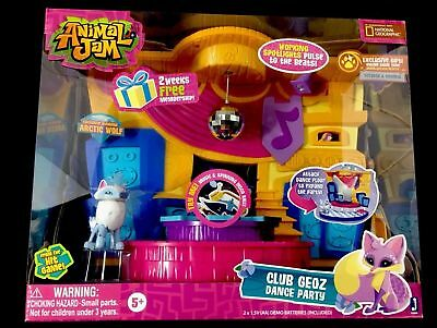 New Animal Jam Club Geoz Dance Party Playset Exclusive Diamond Artic Wolf Kids