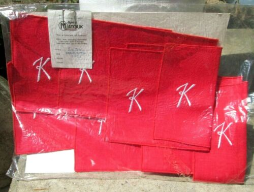 NEW Vintage 8 Distinctive Linens by Matouk Red Initial K Cocktail Napkins Unused
