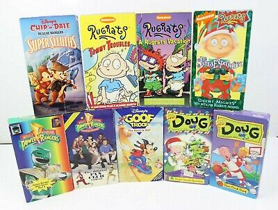 Power Rangers Cartoons Kids (Vintage Lot of 90s VHS Cartoon Videos Kids Rugrats Doug Power Rangers Goof)