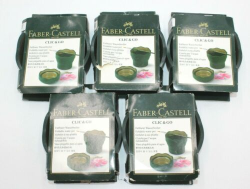 Lot of 5 Brand New Faber-Castell Clic & Go Portable Water Cup Pot Brush Holder