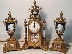 IMPERIAL HERMLE CLOCK GARNITURE SET URN COBALT BLUE SHADE