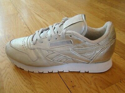 REEBOK FACE STOCKHOLM SILVER LEATHER TRAINERS LADIES  SIZE UK 6