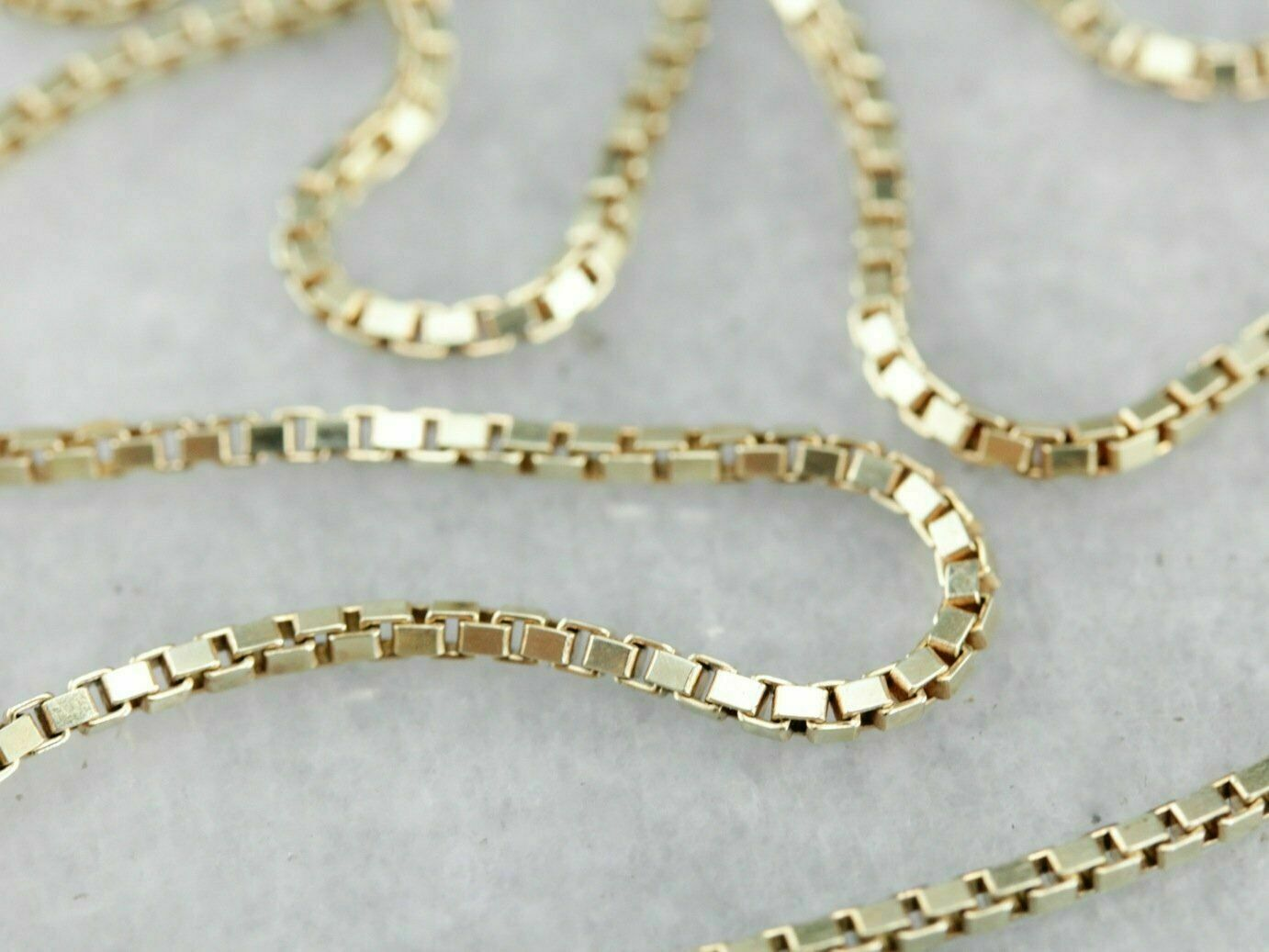 """14K Solid Yellow Gold Box Necklace Real Gold Chain 16"""" 18"""" 20"""" 22"""" 24"""" 26"""" 30"""""""
